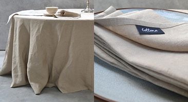 Round Natural Linen Tablecloths ...